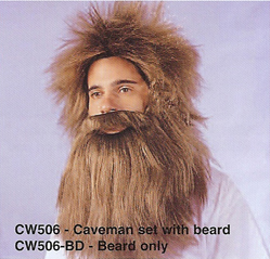 BCW506 Men Costume Wig, Caveman set with beard