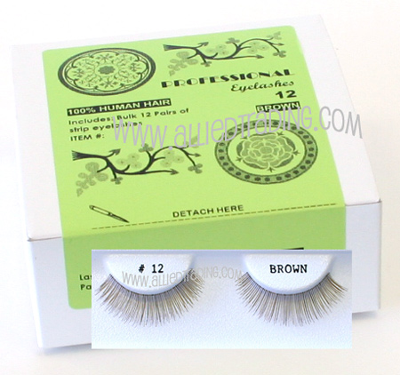Wholesale brown false eyelashes 12 pack fake brown color
