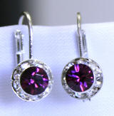 AR1112 swarovski amethyst lever back earrings, 8mm