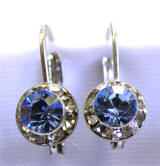 swarovski crystal lever back earrings, 8mm