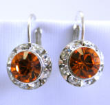 Lever back earrings, swarovski topaz chaton, 11mm