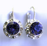 AR1155 tanzanite color swarovski 11mm hoop earrings