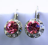 item # ar1159 swarovski light rose hoop earrings, 11mm
