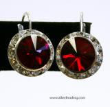 item # ar1200 swarovski rondelle lever back earrings, 15mm silver