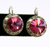 item # ar1201 swarovski rondelle lever back earrings, 15mm silver