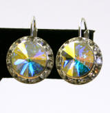 swarovski rondelle lever back earrings, Austrian Crystal 15mm Silver