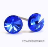 swarovski sapphire round stone stud earrings, 5mm