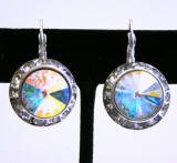 Swarovski Crystal Leverback Earrings, 20mm, AB Color
