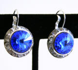 Swarovski Rose Leverback Earrings, 20mm Sapphire
