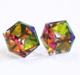 Swarovski Crystal Cube Stud Earrings, 8mm