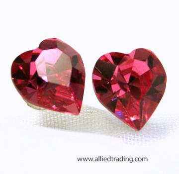 Item Ar570 Swarovski Crystal Heart Stud Earrings