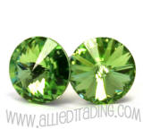 item # AR902 Swarovski Peridot Earrings. 8mm in diameter