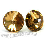 Swarovski Crystal Light Colorado Topaz Earrings, 11mm in diameter