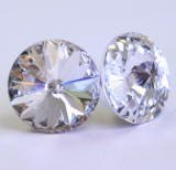 AR926 Swarovski Stud Earrings, Single Round Stones, 11mm