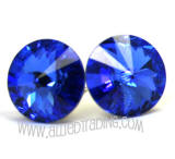 Swarovski Earrings, Sapphire, 14mm in diameter