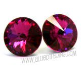 Swarovski Earrings, Fuchsia, 14mm in diameter