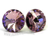 Swarovski Earrings, Light Amethyst, 14mm in diameter