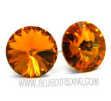 Swarovski Earrings, Topaz, 14mm in diameter