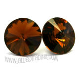 Swarovski Earrings, Smoked Topaz, 14mm in diameter, allied trading, los angeles