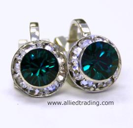 Item Arc151 Clip Earrings Sawrovski Emerald 8mm In Diameter