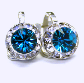 Swarovski Blue Zircon Clip On Earrings 8mm In Diameter Fashion Wholer Allied Trading