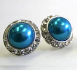indicolite bridal pearl earrings, 20mm