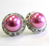 rose bridal pearl earrings, 20mm
