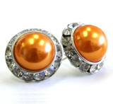 orange pearl earrings, 20mm in diameter