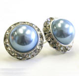 steel blue pearl earrings, 20mm in diameter