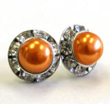 bridal topaz pearl earrings, 8mm in diameter