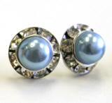 bright steel color bridal pearl earrings, 8mm in diameter