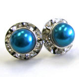 11mm indicolite bridal pearl earrings