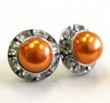 lighter orange pearl earrings in 11mm