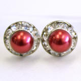 8mm Faux pearl stud earrings with crystal channel