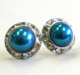 dark indicolite bridal pearl earrings, 15mm