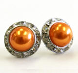 orange pearl stud earrings, 15mm