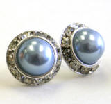 steel blue pearl stud earrings, 15mm