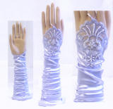 GV51 Fingerless Gloves with Faux Pearl Details, Satin Stretch