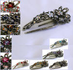 swarovski elements crystal accented large hair clips with teeth