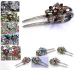 swarovski elements accented long hair clips with teeth