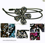 srb87bk swarovski single large flower metal head band, black frame
