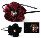 wholesale fabric headband with crystal accent, item # srb89