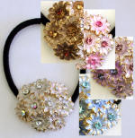 item # srp96 swarovski crystal chrysanthemum inspired ponytail holder